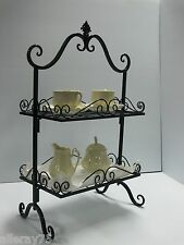 FRENCH antique style cake stand  black 2 tiers WROUGHT IRON NEW