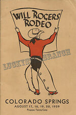 Will Rogers Colorado Springs, CO 1939  VINTAGE RODEO POSTER