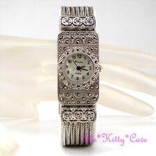 Silver MOP Victorian Deco Baroque Regency Gothic Marcasite Chain Bracelet Watch
