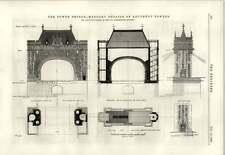 1889 Tower Bridge albañilería detalles de contrafuerte Torres