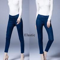 Women Ladies Casual Elastic Jeans Long Pants Trousers Size 8 10 12 14 16 18 0925