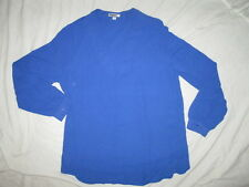 $49 womans size L large Pullover blue hi lo womens top shirt blouse v neck