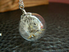 925 Sterling Silver Real Dandelion Seeds Glass Orb Necklace.Make A Wish.Handmade