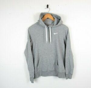 Nike Women Casual Grey Solid Chest Logo Hoodie Hooded Sweatshirt | Medium UK