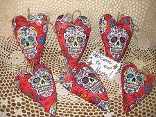 Set of 6 handmade fabric Sugar Skull hearts ornaments Day of the Dead Home Decor