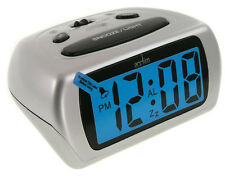 Acctim Auric Digital LCD Display Alarm Clock with Snooze Silver 12340