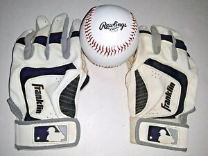 Franklin SHOK-SORB Neo Batting Gloves Youth Medium & Commemorative Baseball Ball