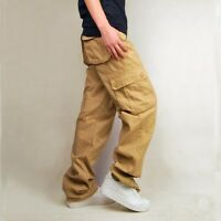 Mens Khaki Green Hip pop Cargo Multi Pocket Pants Casual Trousers Big Size 30-44