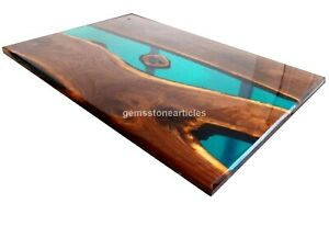 Blue Resin Dining Custom Table Top Handmade Wooden Epoxy Furniture Home Décor