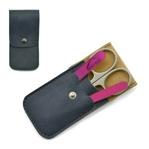 Mont Bleu 3-piece Manicure Set & Glass Nail File in Eco-Leather Case  GNU BLUE