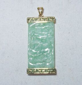 """1.7"""" Chinese 14K Gold Pendant w/ 33.5mm Carved A Grade Green JADEITE Jade DRAGON"""