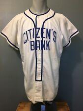 Vtg 50s 60s Wilson Baseball Jersey Mens L Blue White Bank Team Uniform Shirt USA