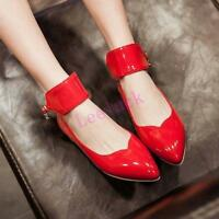 Ladies Mary Jane Lolita Flats Patent Leather Women Pointed Toe Ankle Strap Shoes