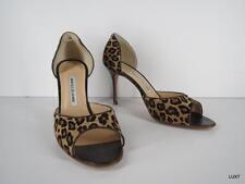 Manolo Blahnik Heels Calf Hair Tan Leather Leopard Print Open Toe Pumps 9.5 39.5