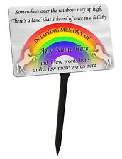 Personalised Memorial Plaque & Stake. Rainbow, Unicorn. For Garden, Grave, etc.