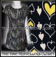 Kate Moss Topshop Navy Blue Yellow White Hearts Spades Silky Shift Dress UK10 12
