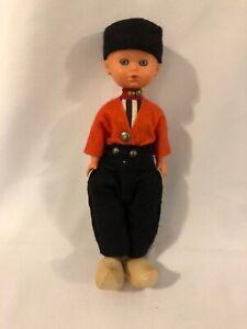 "Vintage Dutch Boy Doll Sleepy Eyes Wooden Shoes Clogs Hard Plastic 7"""
