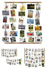 Wood Photo Frame Collage Multi Picture Wall Decor Artwork Hanging With 30 Clips