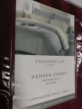 Charter Club Damask Stripe 400 Thread Count Twin Comforter Cover Red