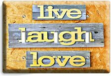 LIVE LAUGH LOVE RUSTIC WOODEN DESIGN TRIPLE LIGHT SWITCH WALL PLATE KITCHEN ROOM
