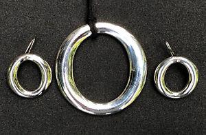 "Tiffany & Co ""O"" Necklace & Earrings Elsa Peretti Spain .925 Silver w/ Silk Cord"