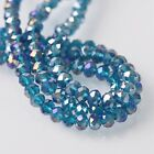 200pcs 6x4mm Rondelle Faceted Crystal Glass Loose Beads Peacock Blue AB
