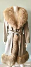 Vtg 60s 70s Coat Grey Leather Fur Mod Trench M Dramatic Collar