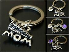 Cheerleader Mom Keychain Initial Birthstone Cheerleading Charm Personalized Gift
