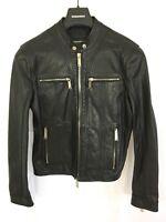 DSquared2 Zipped-Cuff Leather Biker Jacket - Black - IT 48/UK 38 - RRP £1695 New
