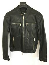 DSquared2 Zipped-Cuff Leather Biker Jacket - Black - IT 48/UK 38 RRP £1695 - New