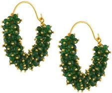 Indian Ethnic Gold Plated Green Pearl Hoop Earrings For Women Fashion Jewelry