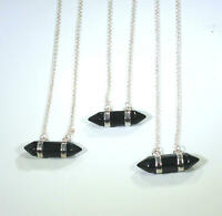 """925 SS Black Onyx Crystal Healing Pendant + 20"""" Sterling Silver Necklace"""