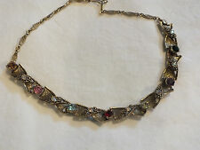 "Colorful Rhinestones 12-16"" Long Nice Beautiful Necklace Choker Gold Tone"