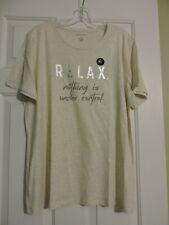 NWT Banana Republic Women T-shirt Heather Oatmeal Graphic Cotton Modal xl XLARGE