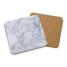 blanco y gris efecto mármol Clásico Posavasos Felpudo Corcho Cuadrado Juego x 4