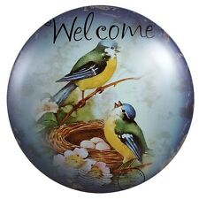 Bird Nest Welcome TIN SIGN METAL ROUND DOME home decor country cottage wall art