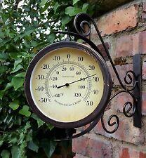 Outdoor Garden wall Steam Punk Station Clock & Temperature, swivels 30.5cm