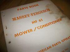 Massey Ferguson Mf61 Mower Conditioner Parts Book 1stprint 1967