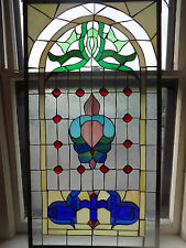 """Antique American Stained Glass Multi-Colored Window Panel 44x 23.5""""  Chicago"""