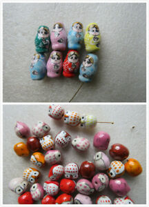 Pack of 10 Ceramic Porcelain Mix Beads Pendant Owls 17mm Russian Doll 20mm Cute