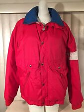 Vintage 1980s Womens Moncler Down Ski Jacket 2 Red White Blue Puffy France 80s