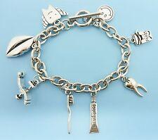 Dental Charm Bracelet Silver Tone Dentist Dental Assistant Gift