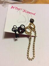 "Betsey Johnson Jewelry  ""Prisoner Of Love"" Handcuff Set Of 5 Studs $35 BP9"