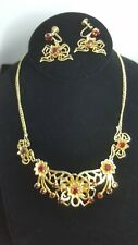 Vintage ruby red rhinestones set, necklace and  earrings design BY ANTHONY 155
