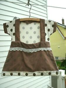 Vintage Clothes Pin Bag--Dress--Brown/White Polka Dot--Hand Sewn