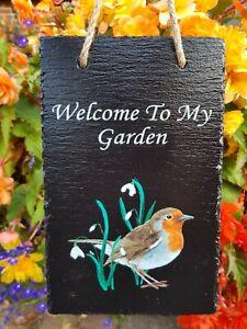 Robin Welcome Sign, Hanging Plaque, Slate Garden Sign, Bird, Flowers, Handmade