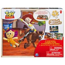 Toy Story 3 Wood 3 Pack Puzzle With Wooden Storage Tray NEW