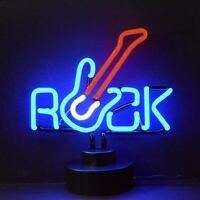 Guitar Neon sign Sculpture Glass lamp light Rock and Roll Base Busic Electric