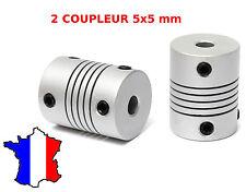 Lot de 2 coupleurs moteur alu axes 5x5 mm pour imprimante 3D, reprap, prusa, cnc