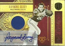 RARE RAYMOND BERRY SIGNED 2011 PANINI GOLD STANDARD GOLDEN AGE JERSEY CARD~2/10